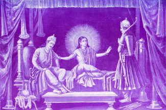 duryodhyan_and_arjun_come_to_krishna_to_ask_for_his_help