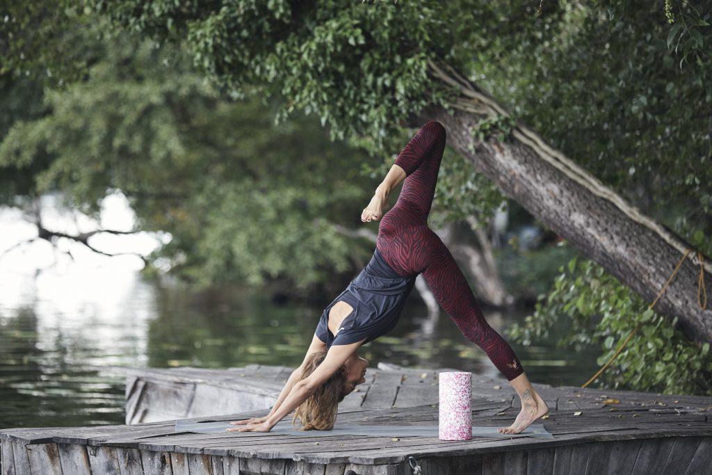 Dreibeiniger herabschauender Hund: Adho Mukha Shvanasana, Variante. Yoga & myofasziale Selbstmassage Iliopsoas